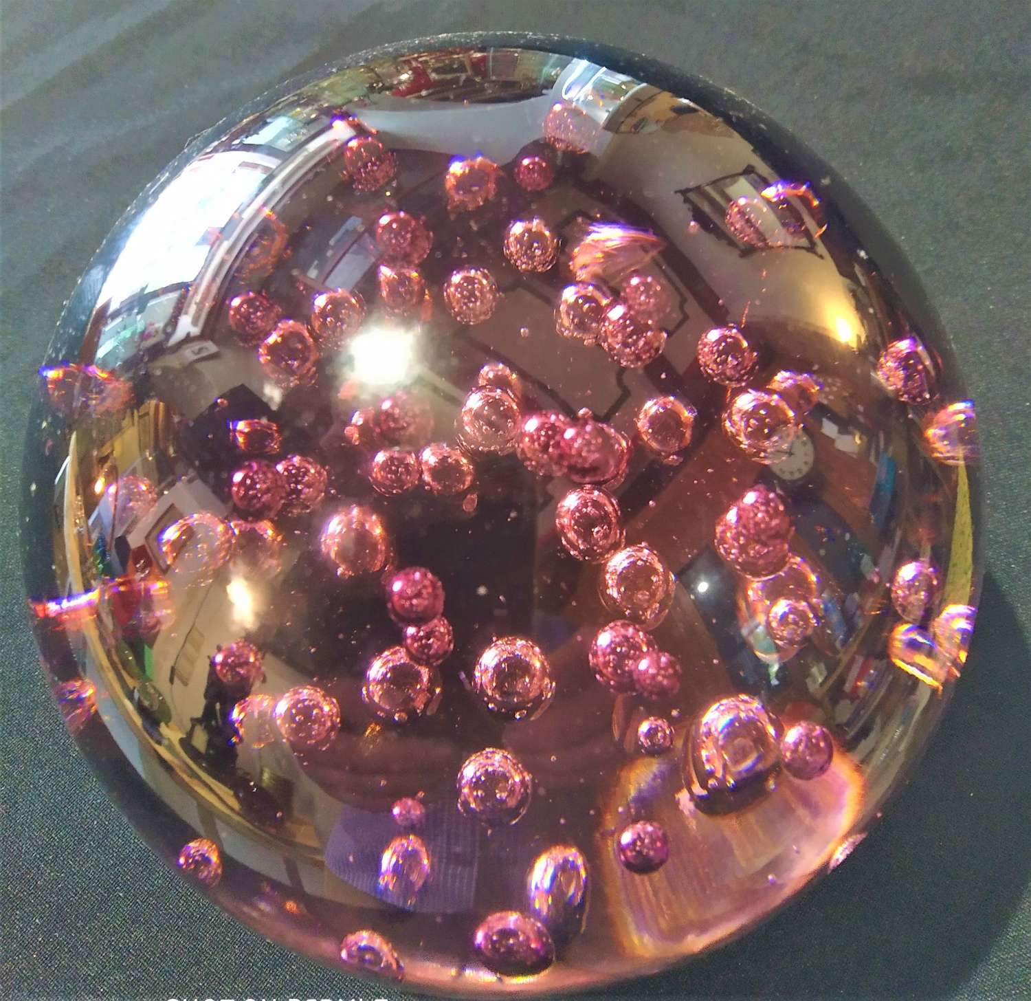 Large vintage bubble glass paperweight