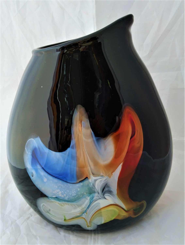 Vintage large black and coloured glass vase