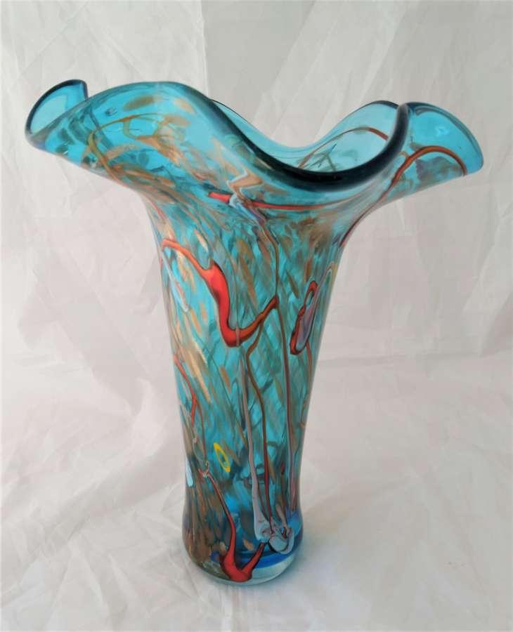 Large handmade coloured vase by Viz
