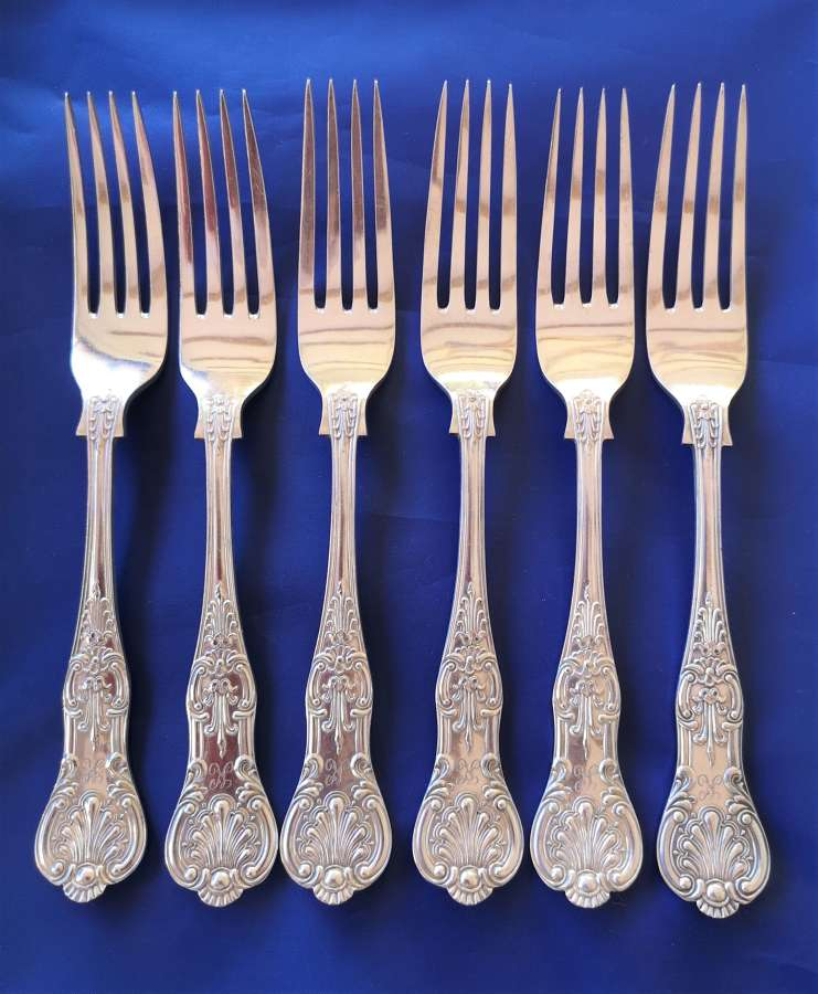 Set of six silver plated Kings Pattern forks