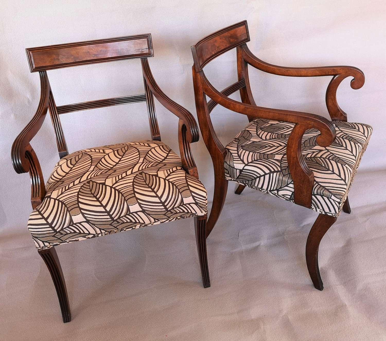 A pair of English Regency mahogany armchairs 1820