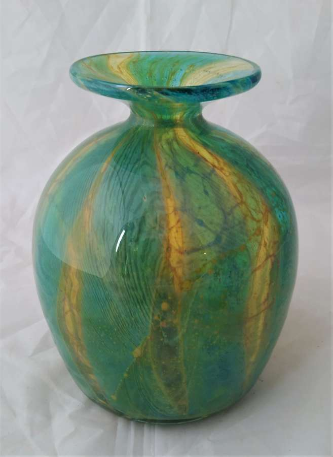 Vintage coloured glass Mdina vase circa 1960