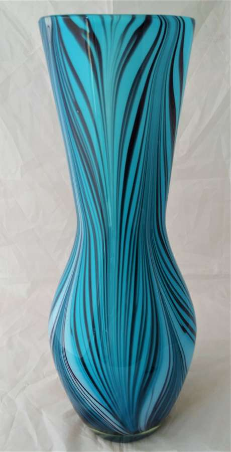 Vintage tall glass vase blue striped