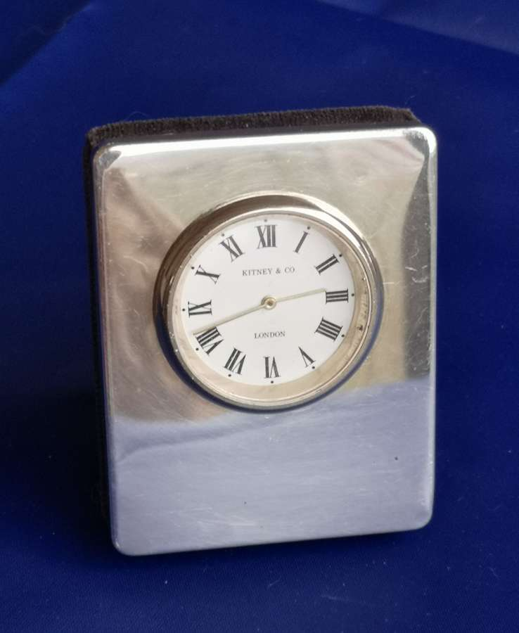 Silver miniature quartz clock London 1993