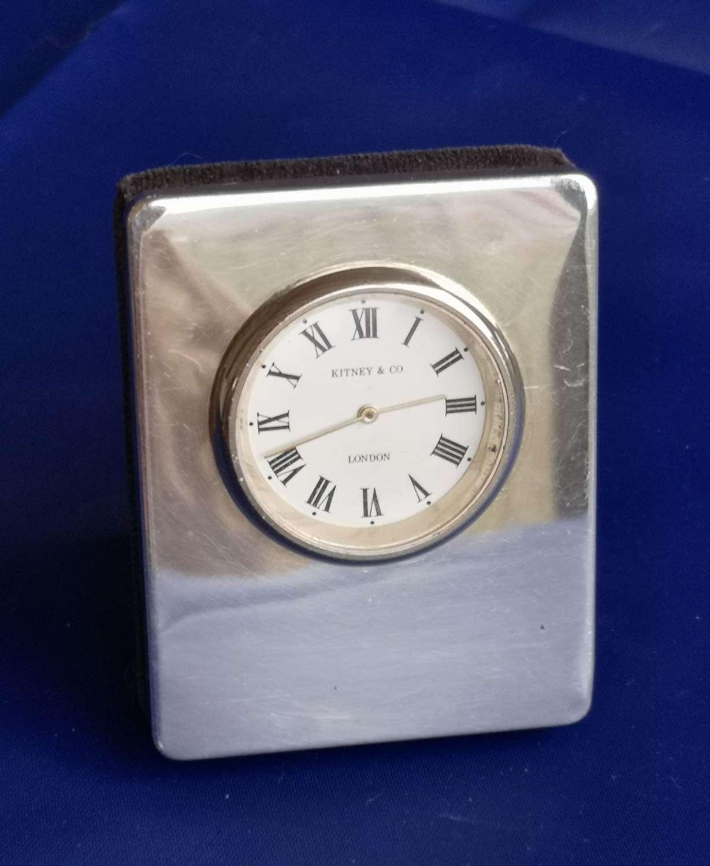 Silver miniature quartz clock London 1993