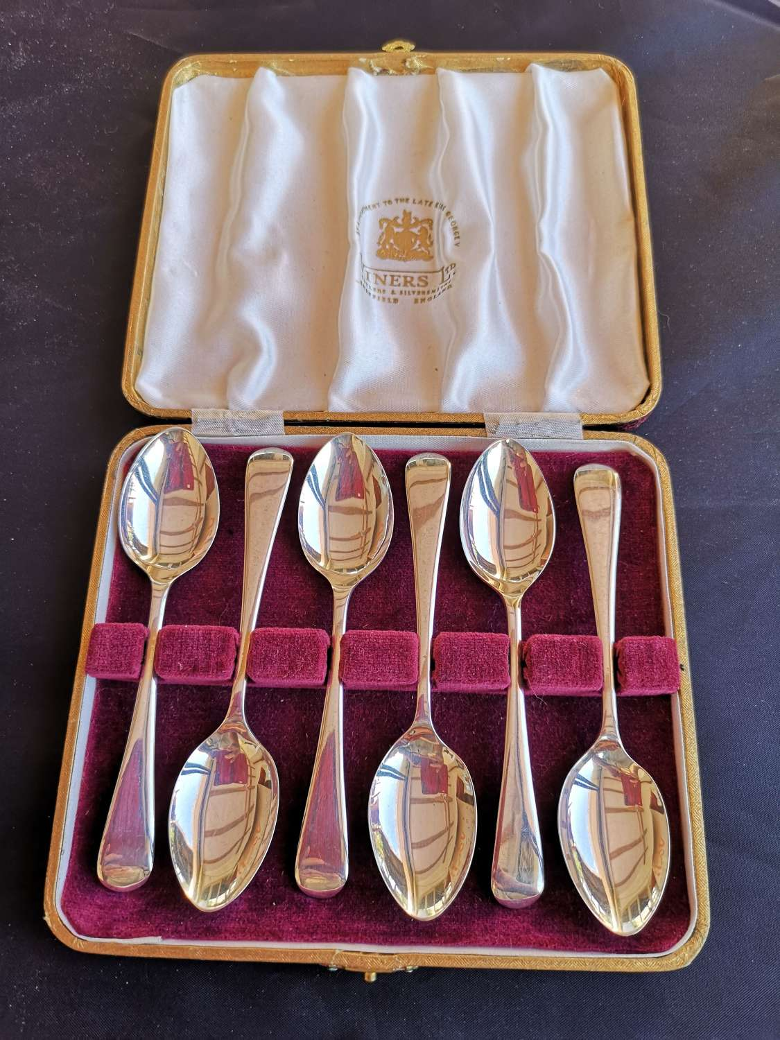 Cased set of six antique silver teaspoons