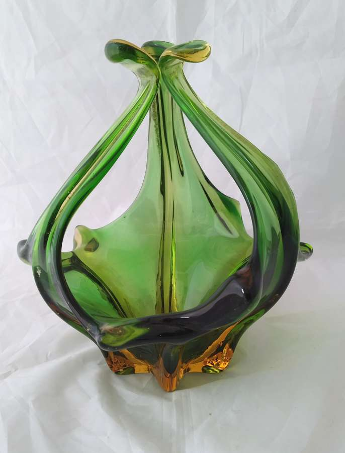 English green glass dish circa 1950s
