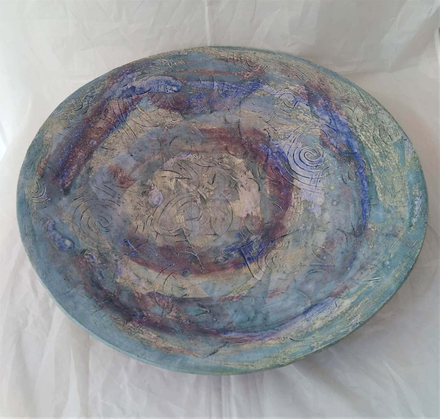 Large contemporary artisan ceramic platter