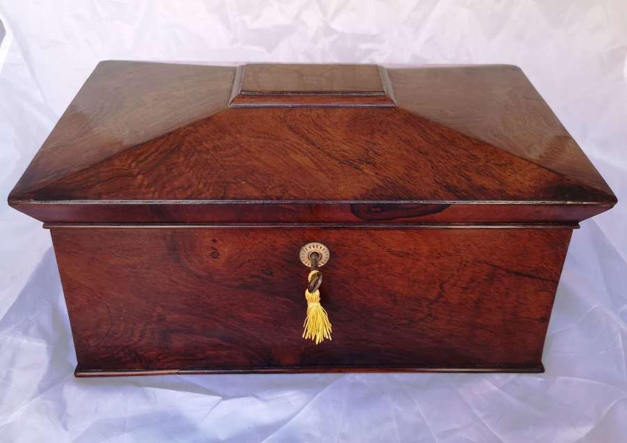 Antigua caja de té de madera palosanto, ingles, siglo XIX