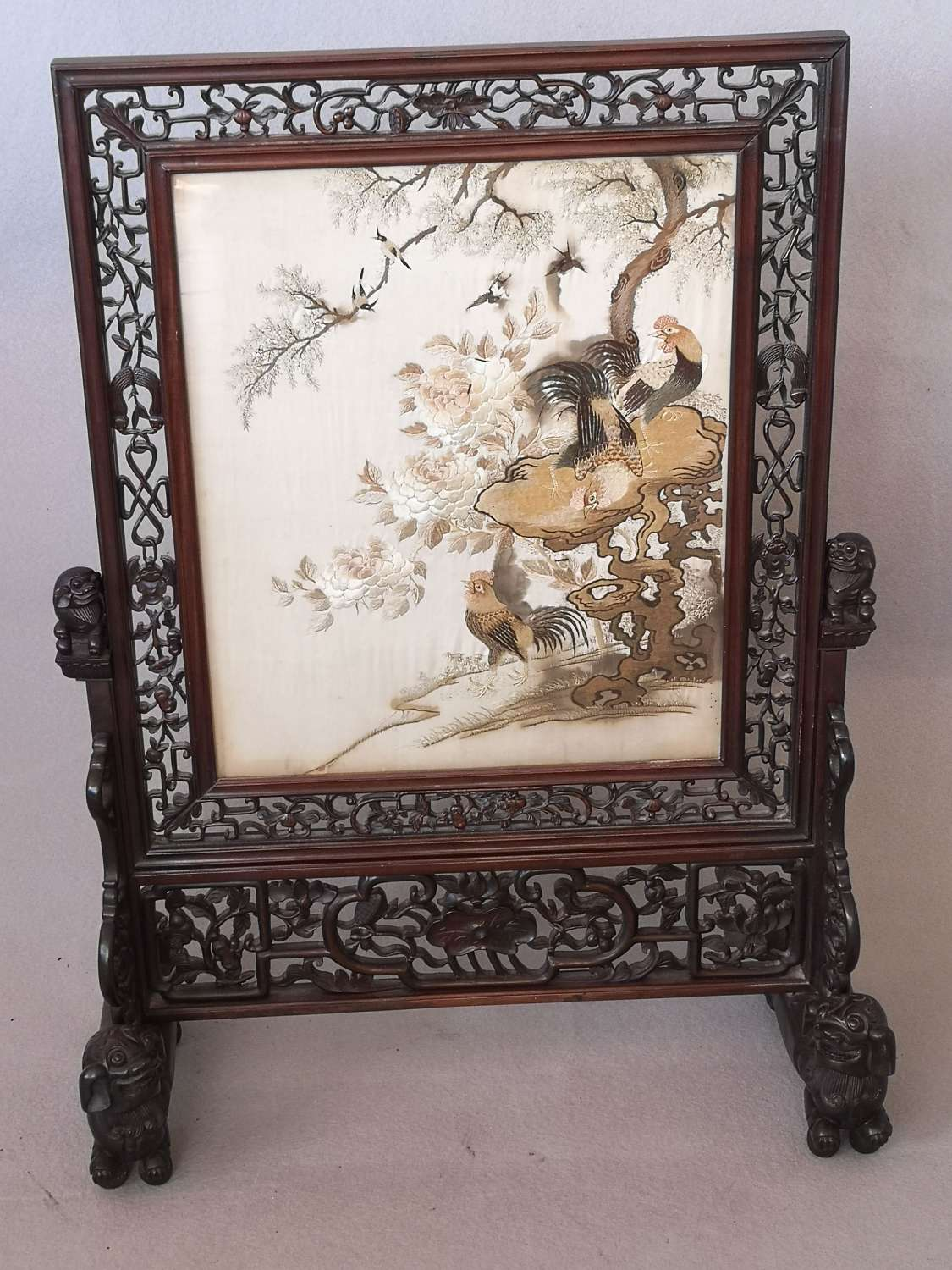 19th century Chinese rosewood firescreen