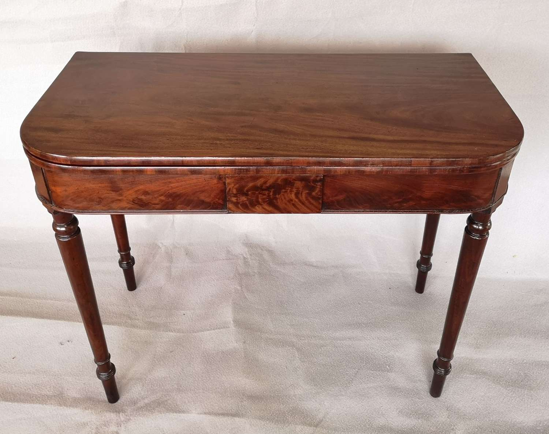 Antique 19C mahogany fold over tea table