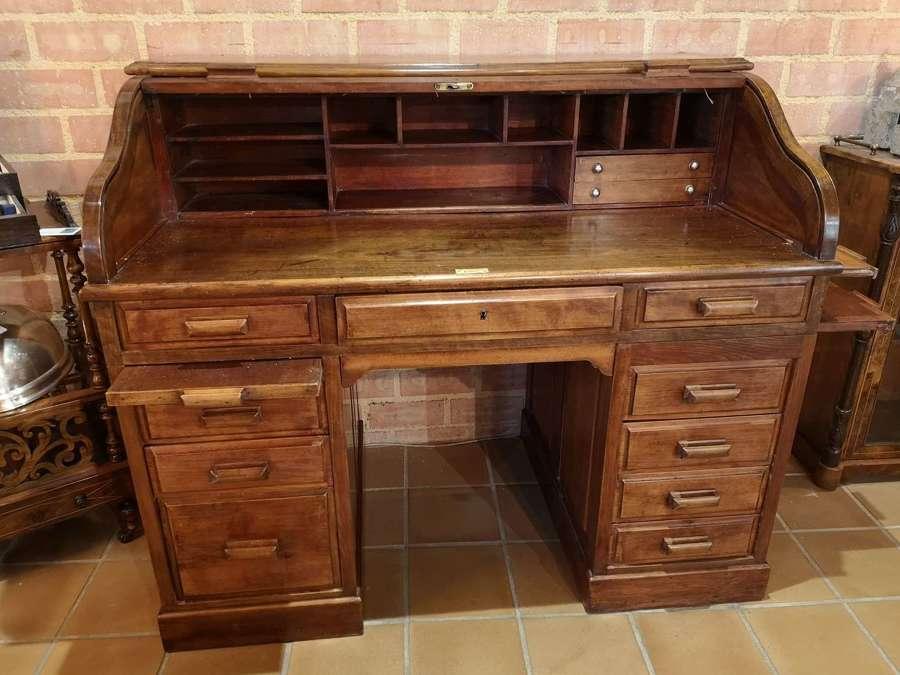Edwardian mahogany roll top desk