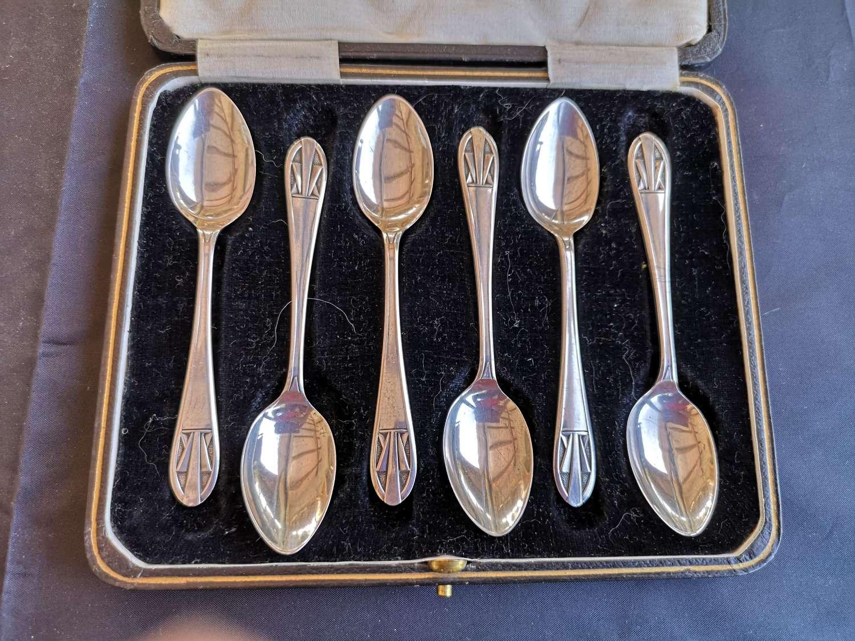 Cased set of six antique silver teaspoons