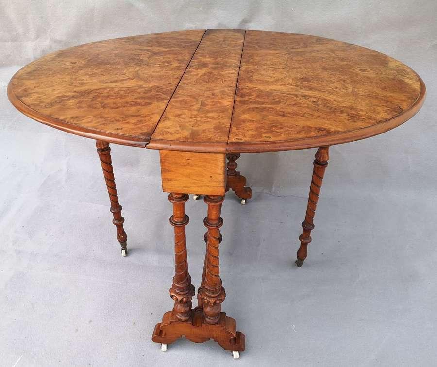 Victorian burr walnut Sutherland table