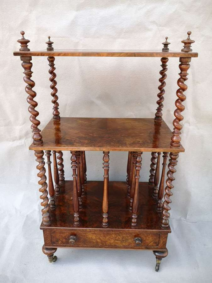 19th century burr walnut Canterbury table