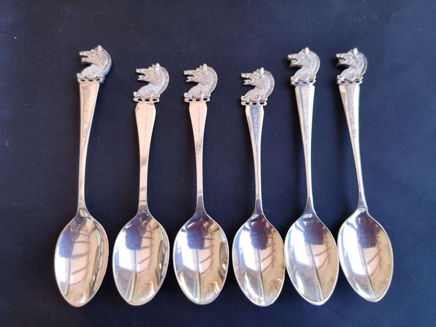Set silver teaspoons with boars head finials
